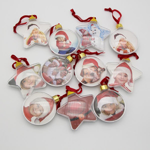 DIY Christmas Gifts Photo Ball Clip Transparent Round Five-Star Christmas Tree Ornaments Valentine's Day Gift XD24062
