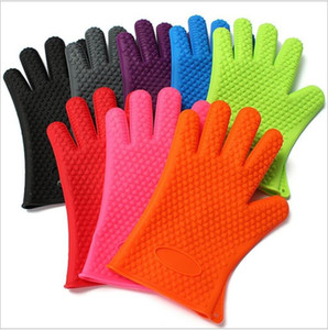 Перчатки Термостойкие силиконовые перчатки Анти-горячие Микроволновая печь перчатки многоразового изоляции перчатки Кухонные принадлежности скруббер HWD26