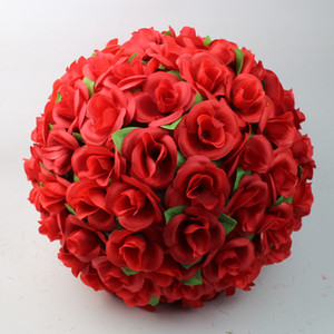 12 30cm Artificial Rose Silk Flower Red Kissing Balls For Christmas Ornaments Wedding Party Decorations Supplies