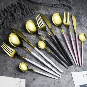 5 colores de acero inoxidable espejo Vajilla Oro comida cuchillo Cuchara Tenedor Cubiertos Cuchara de té simple exquisita cena occidental Cubiertos
