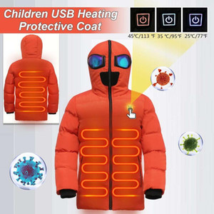130-175CM Children USB Heated Warmer 3s Heated Front Back Winter Hooded Jacket Motorcycling Jacket Skiing Coat Smart Heat