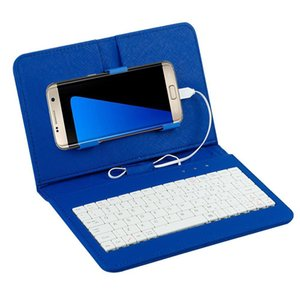 """Kuulee General Wired Keyboard Flip Holster For 4.8-6.0"""" Mobile Phone Table Stand Protective PU Case"""