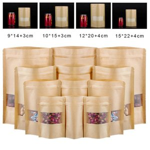 100pcs Packing Kraft Paper Window Bag Stand Up Gift Dried Fruit Packaging Pouches Zipper Self Sealing Bags
