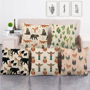 45cm*45cm Animal forest design linen cotton throw pillow covers couch cushion cover home decor pillow