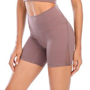 [поставляется в течение 8 дней] Lu Leggings Yoga Outfit бедра дизайнер женское тренировочное спортзал носить твердый спортивный эластичный фитнес выровняют короткие 4 штаны