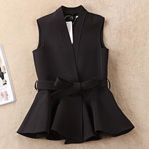 2020 Nevettle Siyah Kuşaklı yelek kadın Bahar Casual Colete Femme Casual Giyim mont
