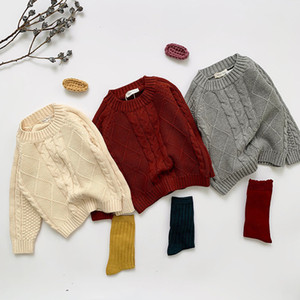 New Autumn Kids Boys Girls Long Sleeve Knit Hemp Flowers Sweater Winter Baby Kids Boys Girls Pullover Sweaters 201126