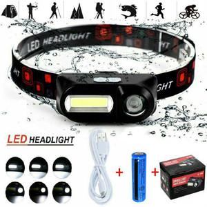 90 ° Grau Ajustável USB Recarregável LED Headlamp XPE Cob Camping Ao Ar Livre Caminhada Headlight Tocha 3Modes Lanterna Impermeável Portátil