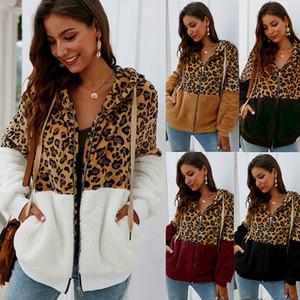 Femmes Sweat-shirt Fleeces chaudes manteau à capuchon femme veste femelle Léopard fermeture à glissière de poche avant Sweats à capuche décontractée Howoat automne Outwear