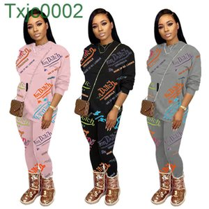 Women Outfits Designer 2021 New Letter Printed Tracksuit Hoodies 2 Piece Set Long Sleeve Legging Fall Winter Clothes Plus Size Jogger Suit
