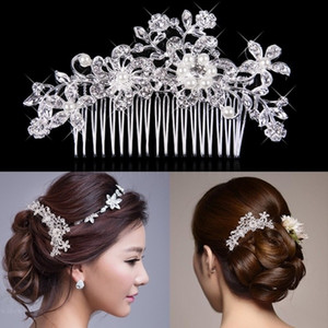 Hair Accessories Beautiful Hair Comb Pin Clip Bridal Prom Silver Wedding Flower Pearls Crystal 10 pcs free shipping