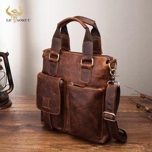 """Men Quality Leather Antique Retro Business Briefcase 12"""" Laptop Case Attache Portfolio Tote Shoulder Messenger Bag B259 200930"""