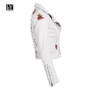 Ly Varey Lin Faux Soft Leather Jacket Women Embroidery Floral Faux Leather Jacket Pu Motorcycle Epaulet Zipper Punk Outerwear 201124