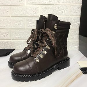 2019 new fashion luxury Leather autumn winter boots leather heavy duty soles comfortable breathable leisure lady Ma Ding boots with box