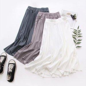 2020 Women Summer A Line Pleated Skirt High Waist Elegant Pink Skirt Casual Clothes Faldas Jupe Femme Saia Women Midi Skirts