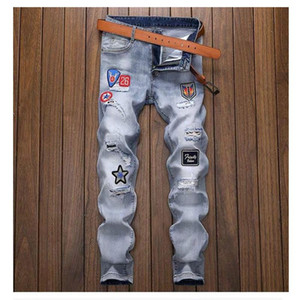 little blue personality ripped jeans men patch embroidery hot rhinestone stretch slim straight beggar trend demin jeans-ker001