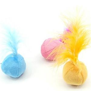 Pet Toy drôle Mini boule de chat en peluche Feather Sound Interactive Jouets Chromatique Squeak cataire Clochette Supplies1 8zk Hh