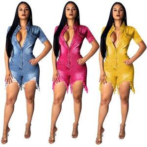 Женская Летняя Новая мода Повседневная Ромпер Карманный Твердые высокого качества Tight Sexy Hole кисточкой Denim Bodycon Нерегулярное Short Комбинезон