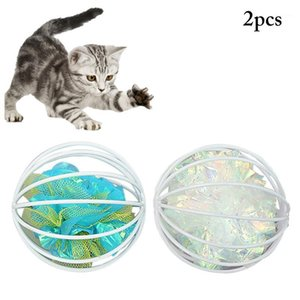 2 pz / Set Colore solido Cat Ball Giocattoli Creative Gabbia Creinca Ball Cat Interactive Sound Toy Gioca Forniture per animali domestici Favors1