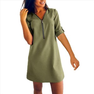 Plus Size Solid Color Women Zipper V Neck Roll Up Long Sleeve Loose Mini Dress Drop Shipping