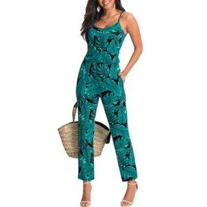 Yeşil Yaprak Baskılı Kadınlar Yaz Plaj Tulum Backless Tulumlar Sıkı Uzun Pantolon Seksi V Yaka Bandaj Vintage Playsuits YF9751