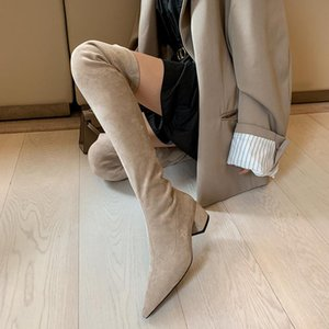 2021sexy High heels over the knee boots women Stretch thigh high boots Ladies Autumn Winter Kid suede Thick Heel Long shoe