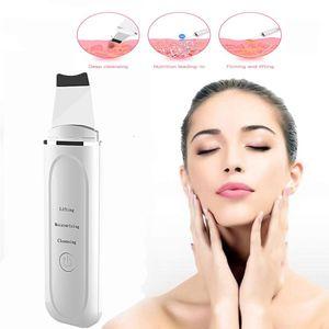 Purificador da pele Facial Scrubber elétrica suave Blackhead Remover Ultrasonic Cleaner Facial Espátula lifting facial Massager SPA