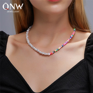New Bohemian style colored soft clay necklace, natural pearl clavicle chain, ethnic style personality contrast collar