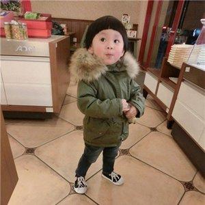 Gruesa invierno de los niños chaquetas chicas Chaqueta caliente con la piel del bebé abrigo con capucha del niño del invierno capa del collar de vestir exteriores del Snowsuit ep2X #