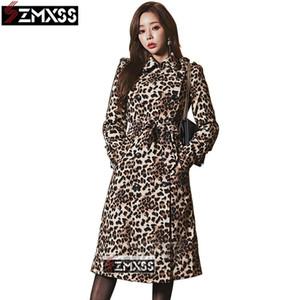 SZMXSS Leopard Double-Breasted Blazers Pencil Work Dress Autumn women Long Sleeve Sheath Slim Formal Pencil Office Dress LJ200820