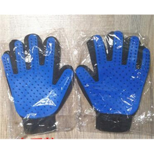 200pcs cheap Pet Dog Cat Bath Grooming Brush Dogs Cleaning Massage Comb Hair And Fur Remover Glove Five Fingers Blue