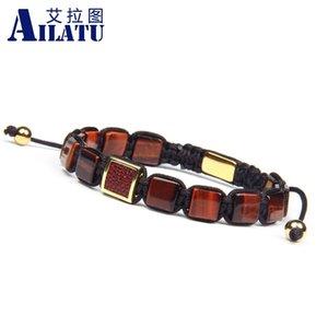 Diseñador barato Ailatu Macram stingray genuino 8mm brazalete de cuero, ojo de tigre natural, Malaca, piedra plana, joyas tejidas