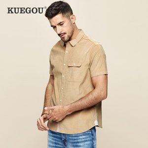 KUEGOU BRAND Мужская вельвера с коротким рукавом рубашка чистый цвет мужской культивировать свою мораль досуг рубашка летняя рубашка BC-8813