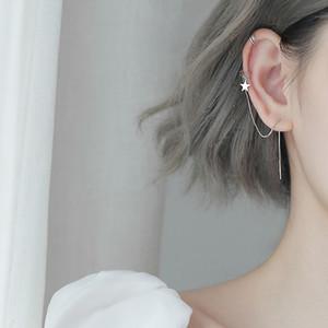 Sweet Style Silver Moon Pendant Long Tassels Chain 925 Asymmetric Ear Cuff Clip on Earring For Girl Christmas Gift