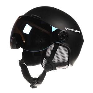 Ski Snowboard Casque avec lunettes anti-choc léger ski de sécurité d'équipement de ski Casques pour les jeunes Hommes Femmes Noir