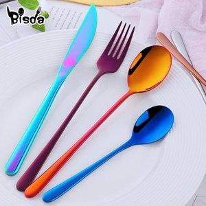 4Pcs Korean Cutlery Set Stainless Steel Flatware Sets Western Spoon Fork Dinner Knife set Golden Dinnerware Party Utensil