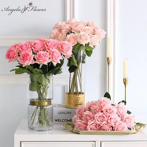 Artificial flower feel moisturizing rose DIY bridal bouquet photo prop home wedding decor fake flower Valentine's Day gift 11pcs C0930