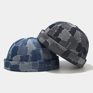 Washed Denim Skullcap Hat Cap Casual Docker Sailor Mechanic Brimless Vintage Gorro Spring Cap