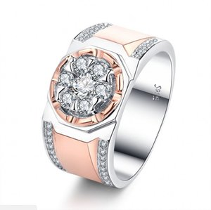 Victoria Wieck Handmade Fashion Jewelry 925 Sterling Silver&Rose Gold Fill Separate Color White Topaz CZ Diamond Party Male Band Ring for Me