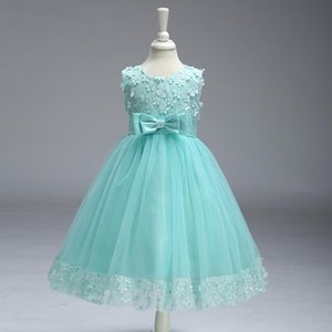 New Arrival Jewel Neck Sleeveless Cheap Flower Girl Dresses with Bow Sash Baby Girl Party Dress Tea Length Little Girls Pageant Dresses