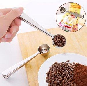 Multifunction Spoon Clip Stainless Steel Coffee Scoop Bag Seal Measuring Spoons Portable Food Kitchen Tool Supplies LJJP647