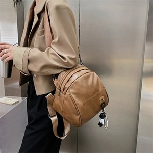 Solid Color PU Leather Backpacks For Women 2020 Fashion Female Small Backpack Lady Back Pack For School Teenagers Girls