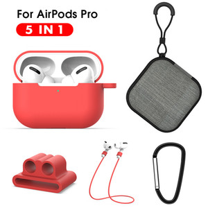 5 IN-1 Protective Case For Air pods Pro Soft Silicone Lanyard Carabiner Earphones Case for Airpods 3 pro Accessories Storage Box
