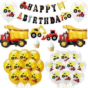 لطيف حفارة اللاتكس بالون البناء مركبة بالون الهواء بانر جارلاند لمهرجان عيد ميلاد سعيد موضوع حزب الديكور 1