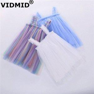VIDMID ребёнки жилет платья лета хлопка девушки сладкий кружева платье Детская одежда детская одежда без рукавов 7065 Xach #