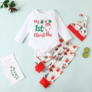 Imcute Infant Christmas Clothes Suit, Baby Girls and Boys Long Sleeve Round Collar Romper+Long Pants Hat 3-18 Months