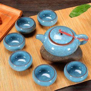 Céramique Kung Fu Tea Set cadeau Boîte Teapot 6 personnes Utiliser céramique Kung New Big Size Fashion bbyqug lg2010
