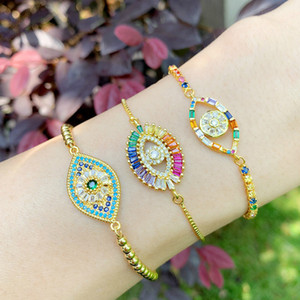 18k gold chain pull adjustable gemstone diamond bracelets colorful crystal eye bracelet women fashion jewelry gift will and sandy