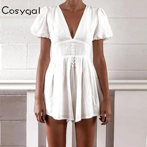 Cosygal Button Cotton Short Puff Sleeve Summer Playsuit Sexy Deep V Neck Crop Top Rompers Womens Jumpsuit Bodysuit One-piece