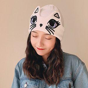 Giapponese donne inverno caldo lavorato a maglia Cuffed Beanie cappello orecchie sveglie Big Eyes Cat ricamato olografici antivento Calotta